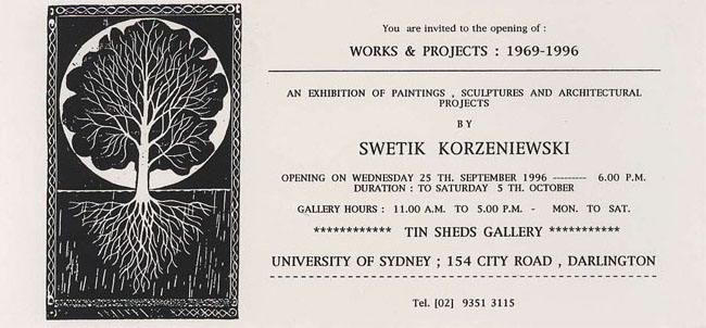 Exhibition of paintings, sculptures and architectural projects 1996